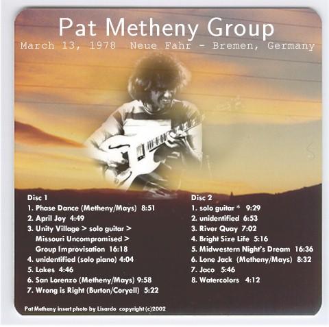Pat Metheny Group Bremen 1978